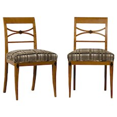 Pair of Antique Austrian Biedermeier Period Birchwood Side Chairs, Ebonized Timber Detail, circa 1830