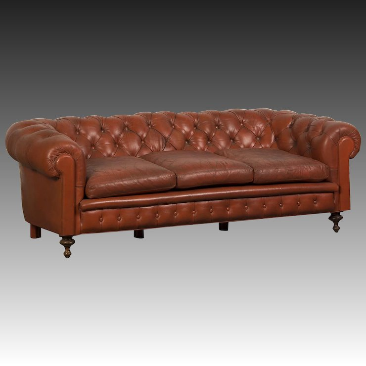 Edwardian Period Vintage English Chesterfield Leather Sofa Circa 1910