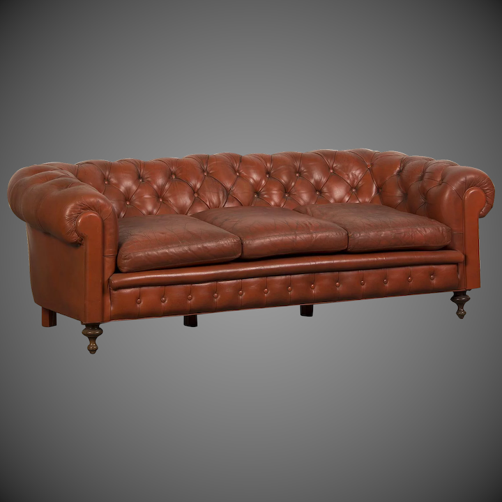 Edwardian Period Vintage English Chesterfield Leather Sofa circa ...