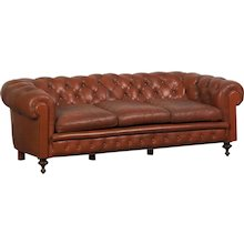 Edwardian Period Vintage English Chesterfield Leather Sofa circa 1910
