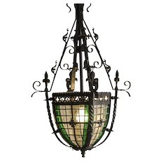 Antique French Belle Époque Period Iron and Glass Lantern circa 1895
