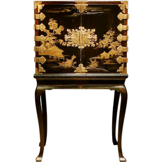 A Japanese Lacquer Cabinet on Stand, Late 17th Century