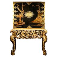 A William and Mary Japanned Lacquer Cabinet on Stand, Late 17th Century