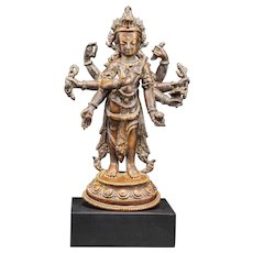 A copper figure of Amoghapasha, 15th century, Nepal