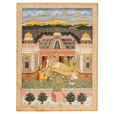 Lovers on Terrace, Mughal, India, School of Faizullah, 18th century