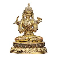 A gilt bronze figure of Manjushri, Nepal, circa 15th century