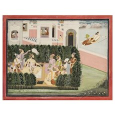 Illustration to a Harivamsa series: Narada warns Kamsa Attributed to Purkhu
