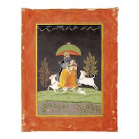 Radha and Krishna under a parasol, Bundi School, India, circa 18th century