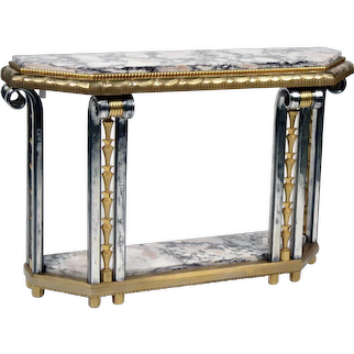 Gilded and Platted Bronze Marble-Top Console by DALMAS
