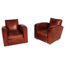 Art Deco Leather Club Chairs by Jacques Adnet
