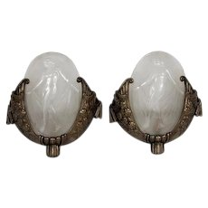 Pair of Art Deco Bronze and Glass Sconces by Muller Fréres-Luneville