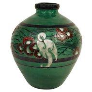 Art Deco Enameled Glass Vase by Marcel Goupy