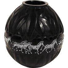 Black Glass Lalique 'Tazania'  Vase