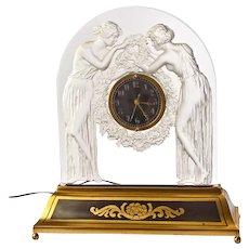Art Deco Glass Clock by Rene Lalique