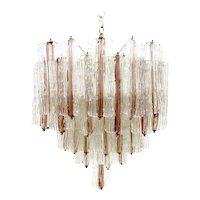 Large Two Tone Pink and White Venini Murano Chandelier by Toni Zuccheri, 1960s