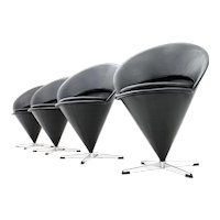 Set of Four Verner Panton Cone Chairs, Leather