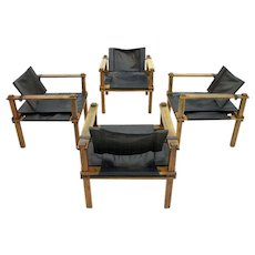 Set of Four Lounge Safari Chairs, Leather and Wood by Gerd Lange, Germany, 1965