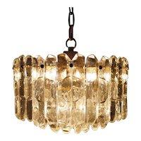 Glass and Brass Ceiling Lamp by Kalmar, Austria 1960s