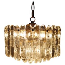 Glass and Brass Ceiling Lamp by Kalmar, Austria 1960s