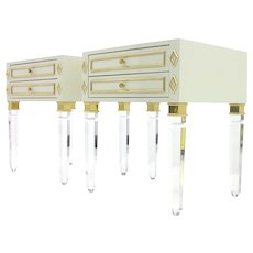 Pair of Nightstands, Lucite, Wood and Brass, 1980s