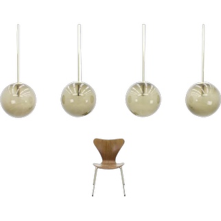 Set of Four Large Ball Lamps with Extra Length Brass Rods by Limburg, Germany