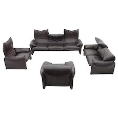 Leather Seating Group by Vico Magistretti for Cassina