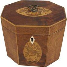 George III Octagonal Inlaid Mahogany Tea Caddy