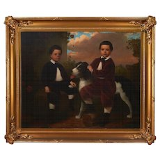 American Oil on Canvas of Boys With a Dog