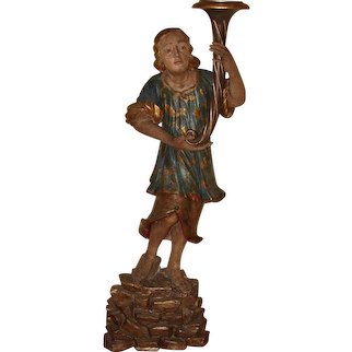 Italian Carved Polychrome Figure of Boy on Plinth