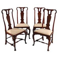 4 Queen Anne Walnut Chairs