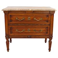 Neoclassical Walnut 2-Drawer Marble-Top Chest