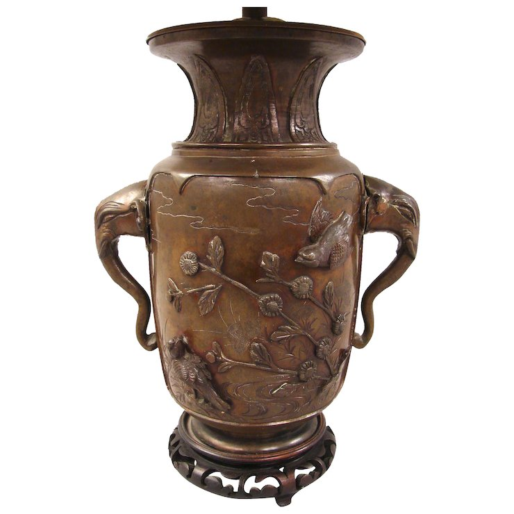 19th Century Japanese Bronze Vase As Lamp Daniel Stein Antiques