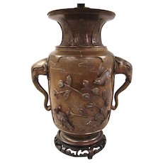 19th Century Japanese Bronze Vase as Lamp