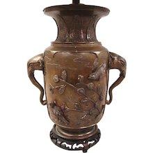 19th Century Japanese Bronze Vase as Lamp