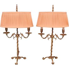 English Victorian Brass Adjustable Candelabra Now Electrified