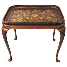 Papier Mache Black Painted and Parcel-Gilt Tray on Mahogany Stand