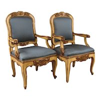 Italian 18th Century Gilt and Painted Armchairs