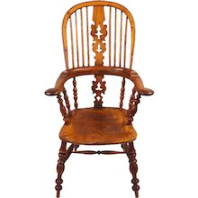 Yew Wood Broad Arm High Back Windsor Chair