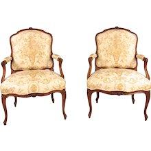 French Walnut Louis XV Style Armchairs