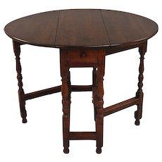 English Oak Small Gateleg Table With Drawer