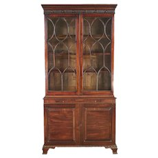 Georgian Mahogany Bookcase Cabinet with Glazed Upper Case