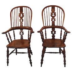 8 Elm, Ash and Hickory Broad Arm Windsor Chairs