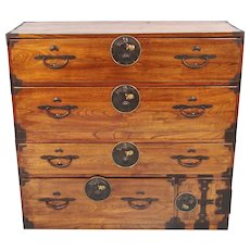 Japanese Elm and Pine Clothing Tansu with Crane and Turtle Hardware
