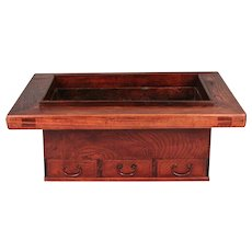Japanese Keyaki (Elm) Hibachi With 3 Drawers