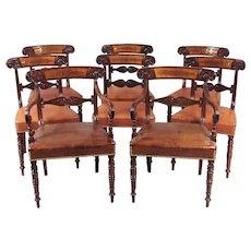 8 Regency Mahogany Brass-Inlaid Dining Chairs