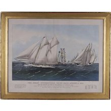 Currier and Ives Lithograph of a Yacht Race
