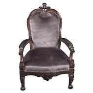 Italian Walnut Arm Chair w/Dolphin Head Hand Rest