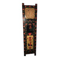 Floral Paint-Decorated Tallcase Coffin Clock
