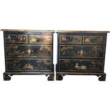 Tete De Negre Chinoiserie Bedside Chest (Pair)