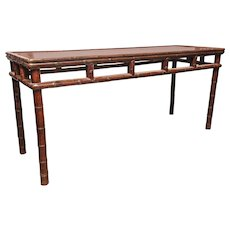 Long Console Table with Bamboo Motif